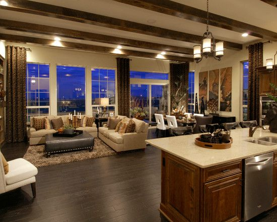 Contemporary Home Design: Extraordinary Open Floor Plan Home Designs Using Brown Kitchen Island With Cream Marble Countertop Combined With L Shape Cream Couch And Gray Table Completed With Pendant Lamp And Wooden Laminate Flooring, Open Floor Plan, Home Design Ideas ~ Bsuccessnetwork.com