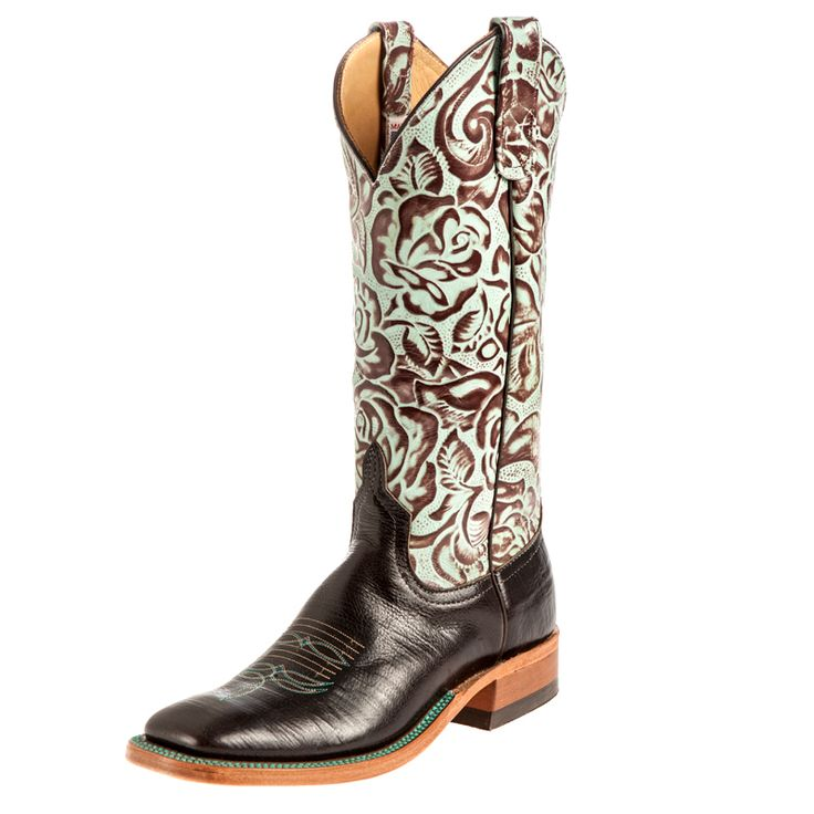 Matches my phone cover love these! Women's Anderson Bean Busted Brown Turquoise Tin Cowgirl Boots Item # 7855L