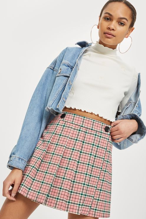 Summer Checked Mini Kilt Skirt