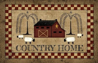 Country Home Decorative Floor Mat             Decorative mat made in the USA.      Polyester face with 100% recycled rubber back                 Measures 18 inches x 30 inches      Care and cleaning - Vacuum or shake out. Spot  clean with mild detergent. Air dry.  Great welcoming mat for the front or back door or  anywhere else!
