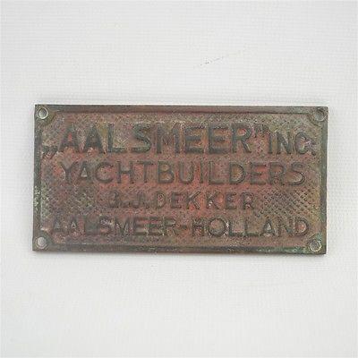 Antique Brass Aalsmeer Yacht Builders G.J. Dekker Nameplate Tag Aalsmeer Holland