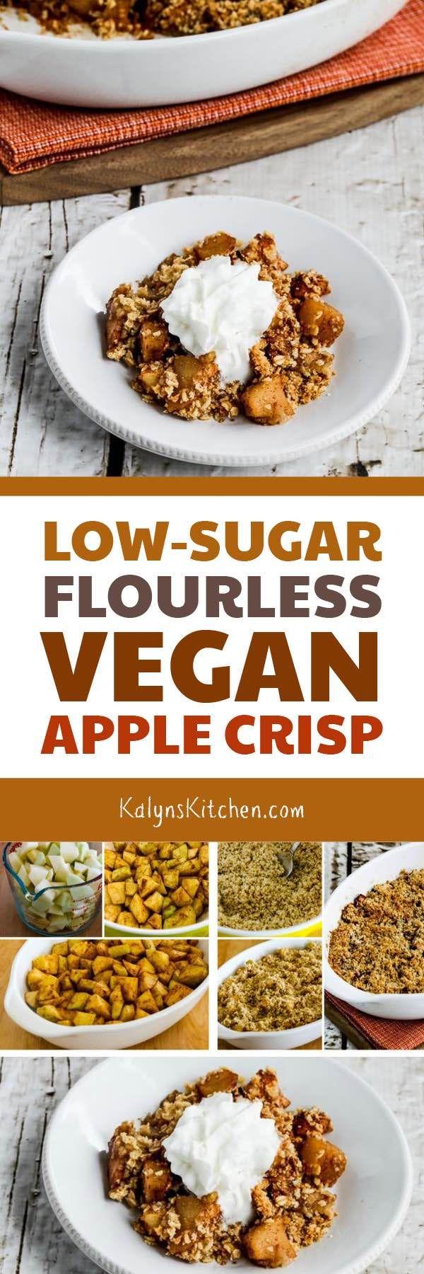 Low-Sugar Flourless Vegan Apple Crisp found on KalynsKitchen.com