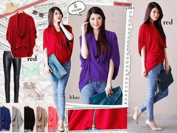 Finsha Plain Batwing Blouse, Warna Red, Blue, Grey, Black, Milo, dan Salmon, Size L kecil. Lingkar dada 86-96 cm, Panjang 60-75 cm, Panjang lengan 35 cm, 2 Resleting variasi bawah depan, Bahan Spandek 108K
