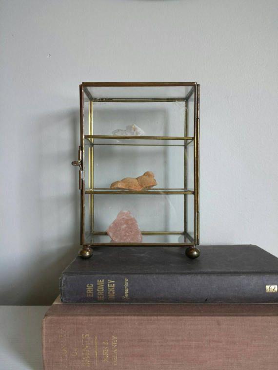 Brass Glass Display Case Glass Display Box Jewelry Casket
