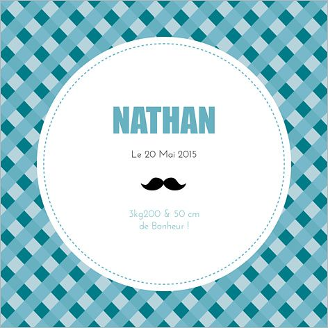 Faire-part de naissance garçon : Moustache à personnaliser sur Popcarte.com