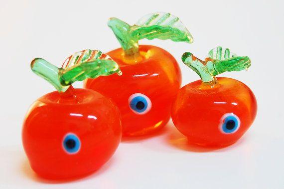 Apple Set Glass with Evil Eye Handmade Sculpture by TheGrandBazaar, $50.00