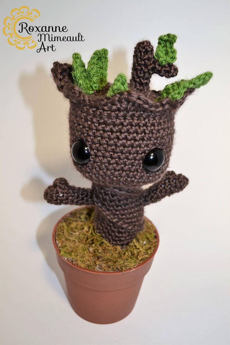Baby Groot amigurumi toy gardian of the galaxy 2 de la boutique RoxanneMimeaultArt sur Etsy