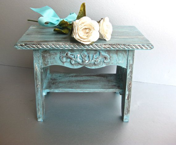 Rustic Aqua Footstool Shabby And Chic Stool French