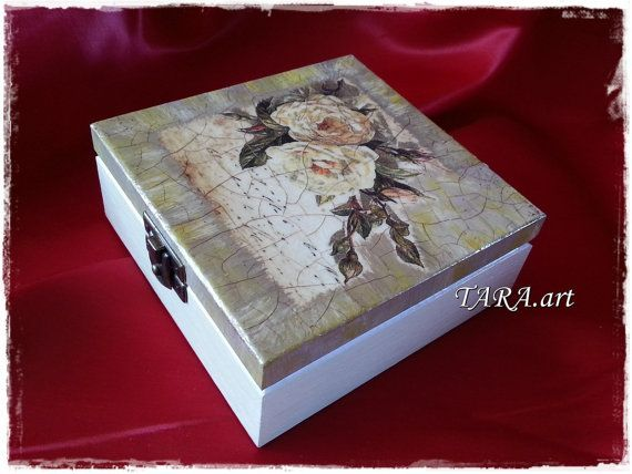 Decoupage jewelry box wooden jewellery holder by LaverdureStudio