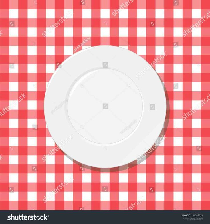 New Red Checkered Tablecloth With Plate At Temasistemi.net