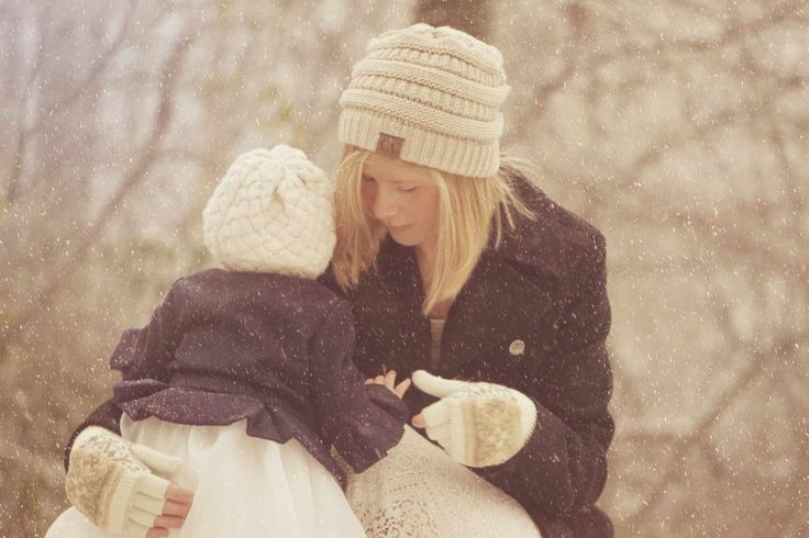 Mother and baby girl. daughter winter outdoor photography.