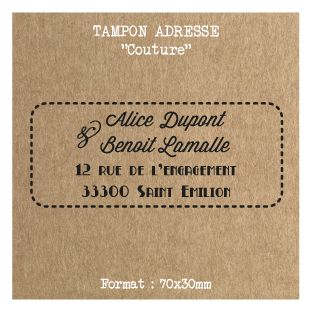 Tampon mariage adresse personnalisé - Couture -