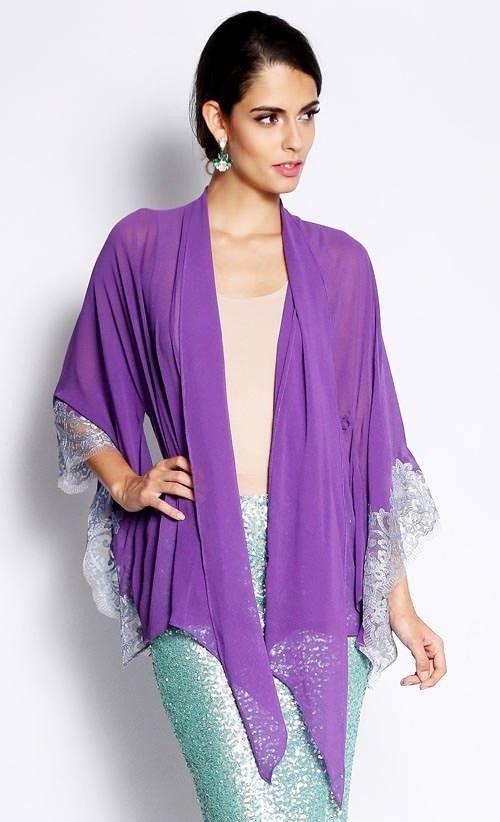 Kimono Kebaya with Lace in Purple and Silver