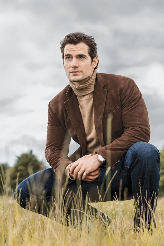 Actor Henry Cavill in the September issue of Men's Fitness magazine wearing Ferragamo Fall 2016 brown suede jacket. www.ferragamo.com