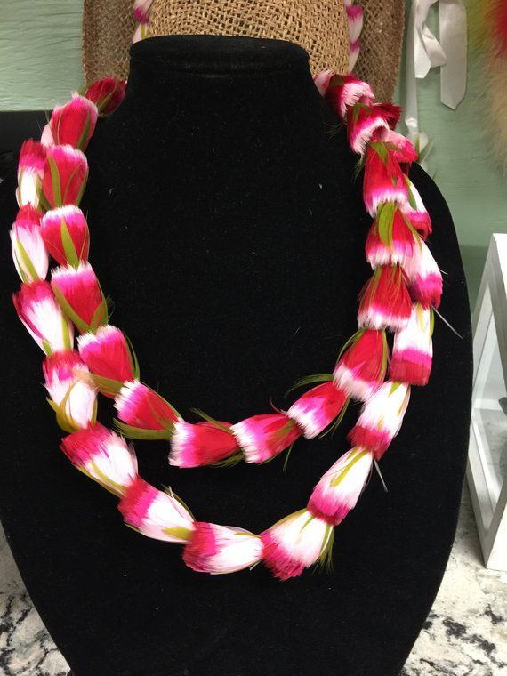 How to make feather lei kit variegated, tutorial feather lei, two toned feathers, maui rosebud lei hulu, easy diy crafts