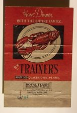 1940s Wide Matchbook Trainer's Lobster Quakertown PA MB