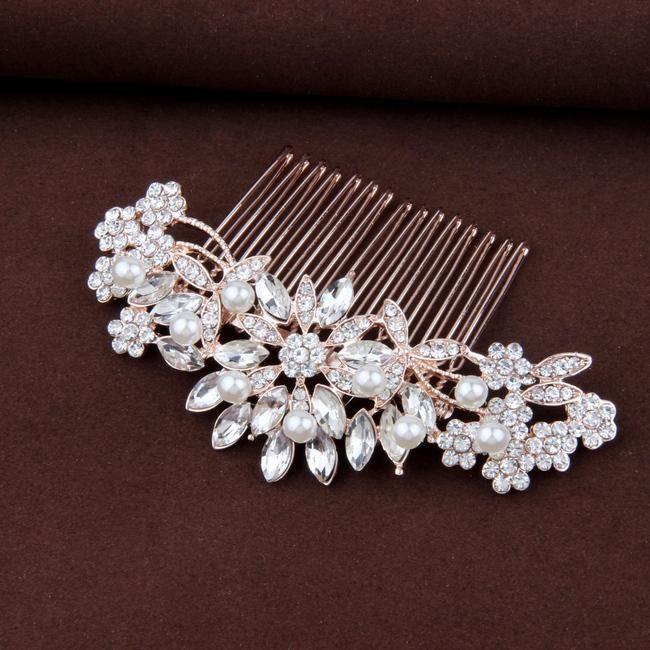 """Pearl & Crystal Rose Gold Braut Haarteil Hochzeitsfrisur – """"Rebecca"""" – Wedding Hair Accessories"""