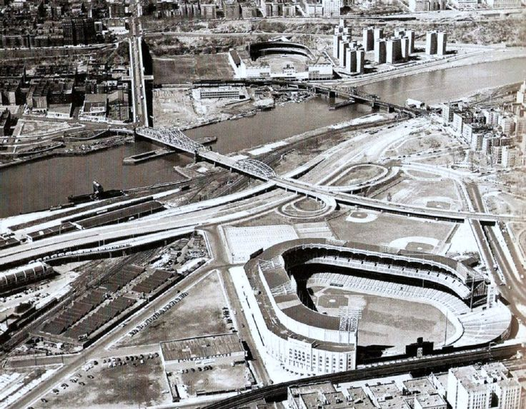 Yankee Stadium & Polo Grounds Aerial view 1951.
