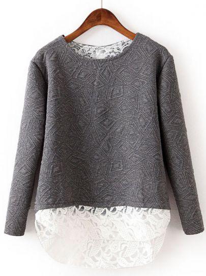 2-fer geometric sweatshirt with lace underlay