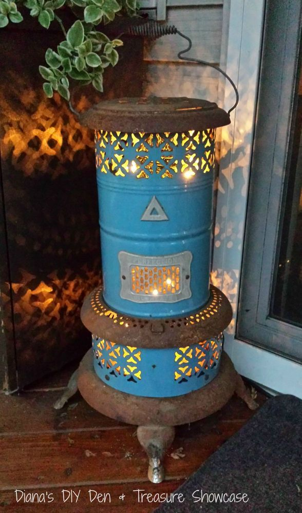 Repurposed Vintage Heater outfitted with lights, great for a front porch