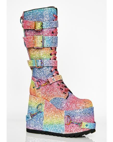 da8562b5078 Sparkle Pony Platform Boots  dollskill  clubexx  platform  boots  sparkle   playa  rainbow