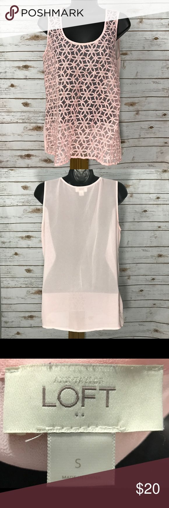 Anne Taylor Loft Pink Sheer Sleeveless Blouse SZ S Anne Taylor Loft Pink Sheer Sleeveless Blouse SZ S LOFT Tops Blouses