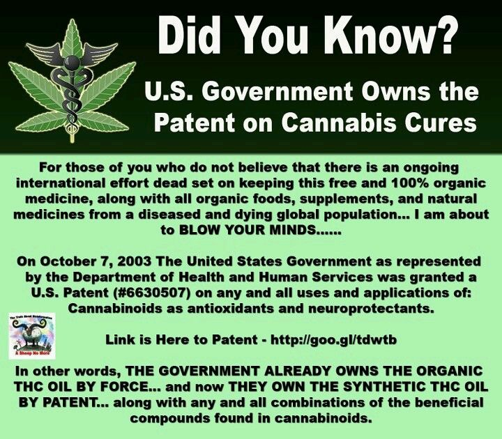 U.S. Government owns the patent on cannabis cures  For those of you who still have any doubts as to the miraculous healing powers of cannabis and THC Oil or do not believe that there is an ongoing international effort dead set on keeping this free and 100% organic medicine, along with all organic foods, supplements, and natural medicines from a diseased and dying global population... I am about to BLOW YOUR MINDS......  On October 7, 2003 The United States Government as represented by the…