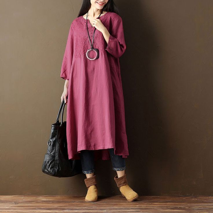 Embroidered Casual V Neck Women Linen Red Dress