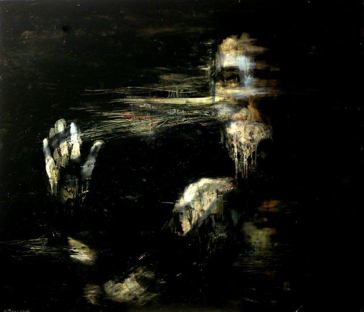 """Kacper Piskorowski """"Bez tytułu"""" olej na płycie, 110 - 95 cm, 2015"""