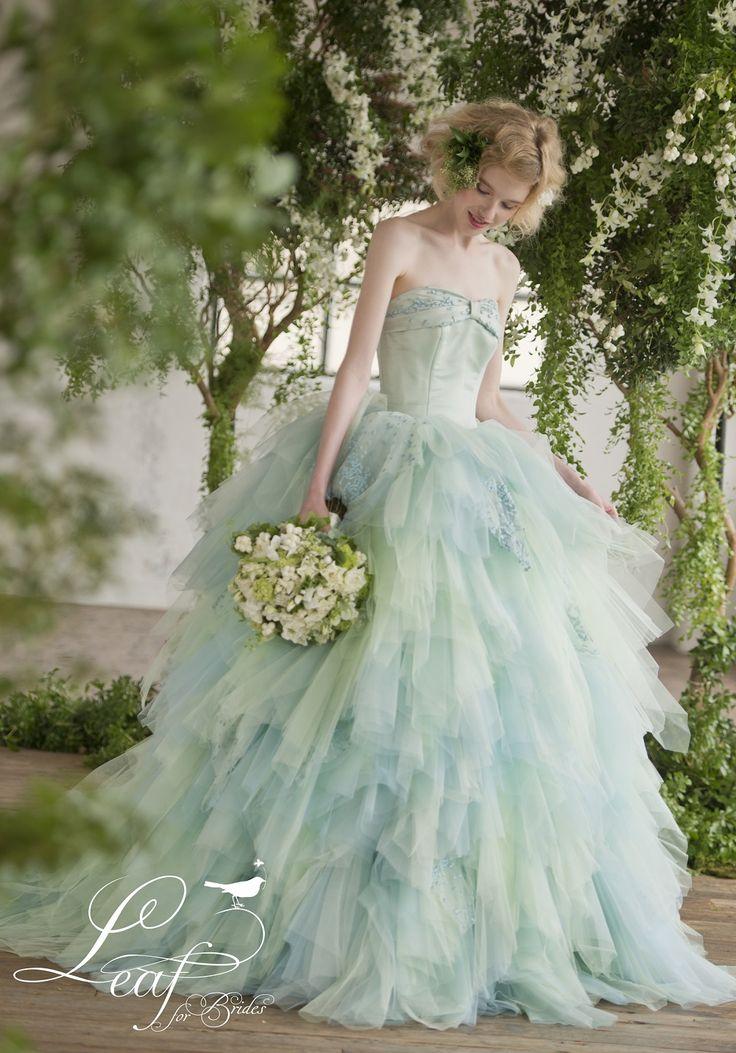 JUNO カラードレス leaf for brides mint green blue