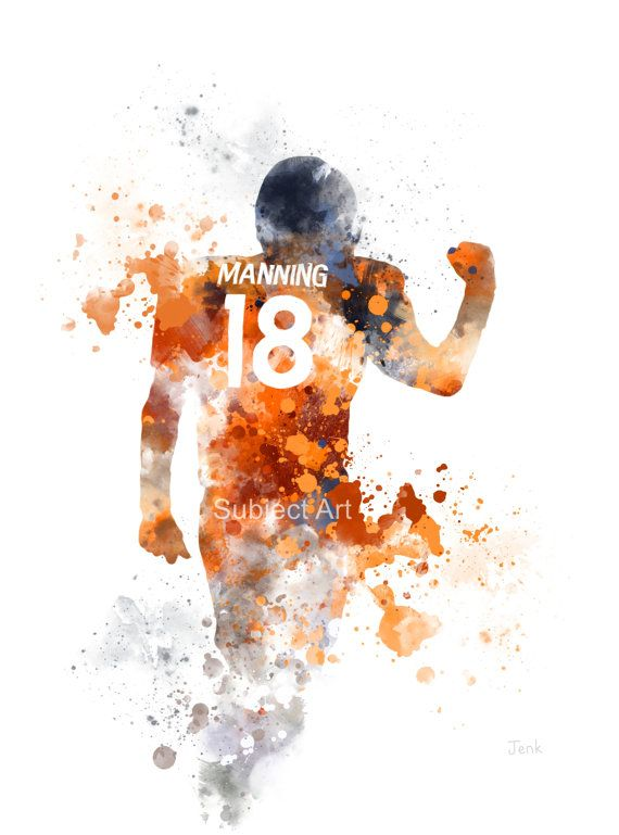Peyton Manning ART PRINT illustration Denver Broncos by SubjectArt