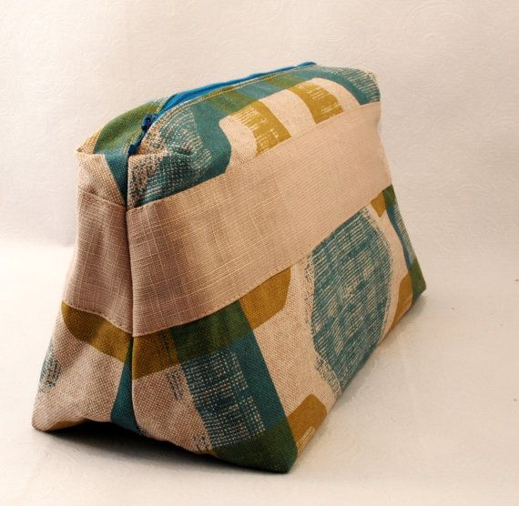 Print toiletry bag in teal and sand waxed cotton large cosmetics bag