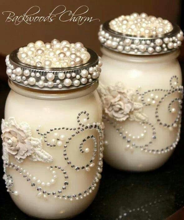 """""""Blingy"""" Mason jars."""