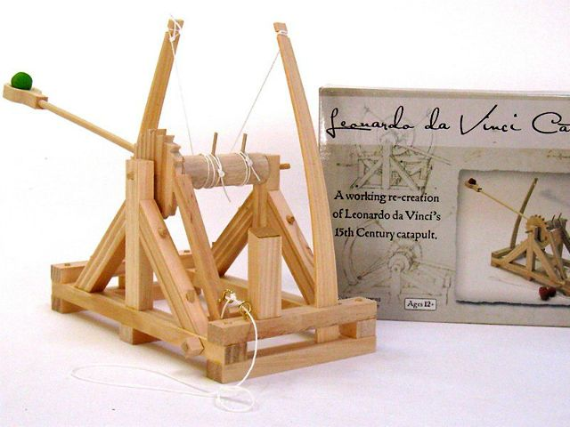 The Leonardo Da Vinci catapult model is scaled to size and fully functions to demonstrate the launching power of the catapult, a historical military device.