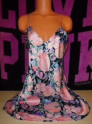 Victorias-Secret-Silk-Slip-Lingerie-Nighty-Sexy-Soft-Size-Medium-M-Floral