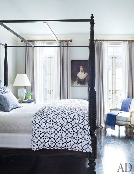 In the master bedroom, an Anglo-Indian tester bed is dressed in John Robshaw block-printed linens | archdigest.com