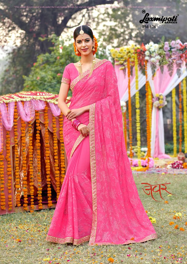 Choose this Pretty Pink Colored #Embroidery #Chiffon #Diamonds_Work #Saree and Pink Bhagalpuri #SilkBlosue along with Fancy Lace Border by #Laxmipati_Sarees. Look fresh, look chic!  #Catalogue-#Zever #Designnumber- Zever 128 #Price -₹ 3083.00   #Colorfulsarees #Cashondelivery #Orderonline #Freedelivery #Freeshipping #Freehomedelivery #Manufacturer #Retailer #Ecommerce #Onlineservices #Festival #Worldwidedelivery #Shopnow #Happyshopping #India #Zev