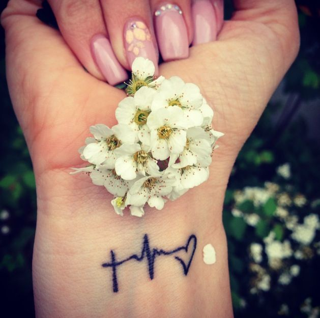 Small tattoo on my wrist: Faith Hope Love