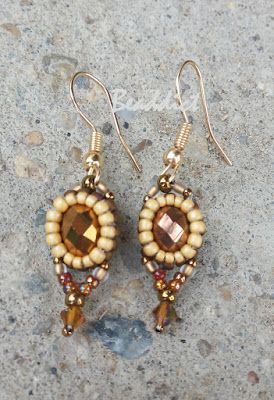 """""""Rococo"""" earrings. Designed and beaded by Beaddict. Donut, seed beads, bicones."""