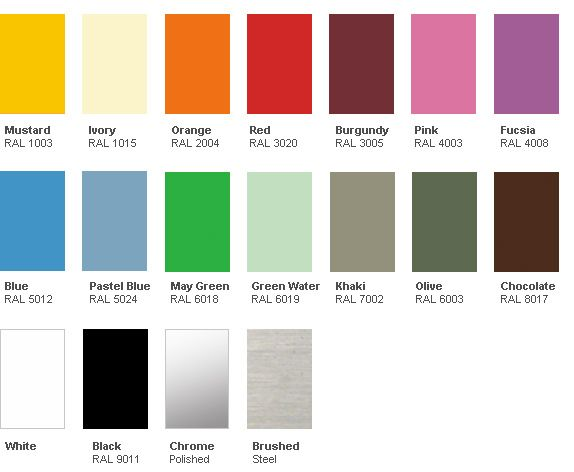 Jielde Color Chart - Made in France : Surrounding.com fucsia, mustard or white