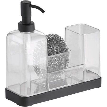Interdesign Forma Kitchen Countertop Soap Dispenser Pump Sponge Scrubby And Dish Brush Caddy Organizer Clear Black Matte