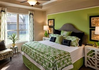 Apple Green Accent Wall With Green And White Decor For The Master Bedroom New Houston Homes