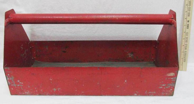 Steel Tool Box Red Metal Heavy Duty Open Handle Rubber Liner Vintage
