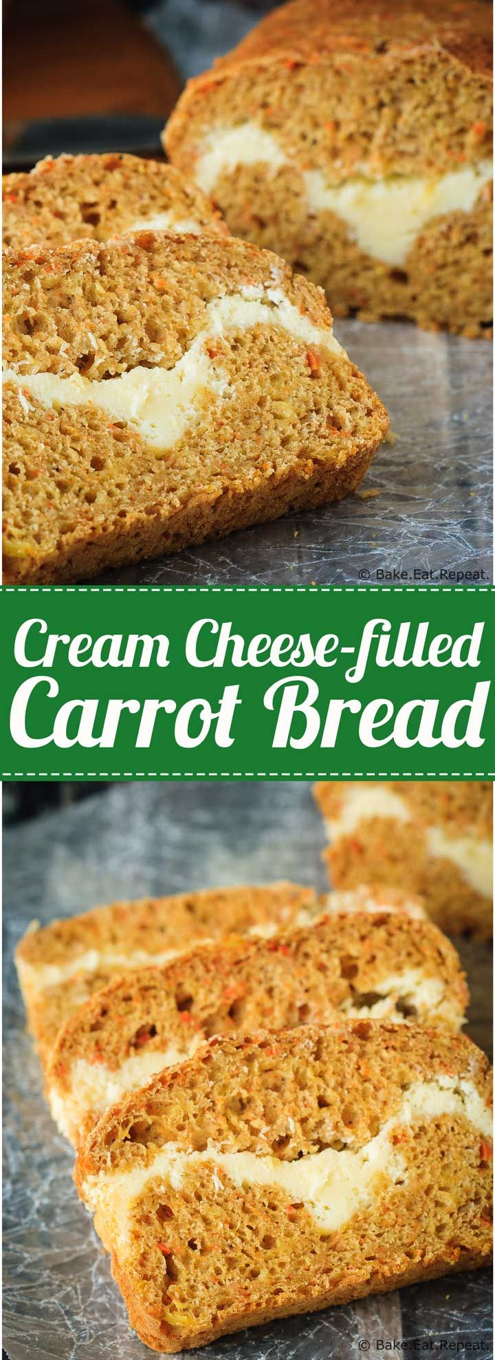 Cream Cheese Filled Carrot Bread - A healthier carrot bread filled with a cream…