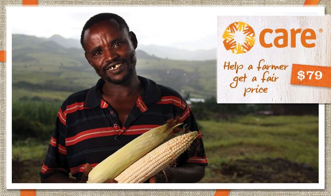 Connect farmers to local markets so they can sell their produce for a fair price. This gift will educate farmers about the best way to sell their produce and help them stay connected to purchasers and other farmers through network groups, helping them make a fair profit for their family.  Aliya Mamada is a father of four in Zimbabwe. He grew up in poverty, but after becoming involved with CARE, now has his own home, his children are in school, he grows his own food and owns livestock.