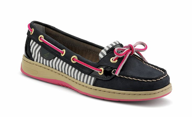 Women's Angelfish Slip-On Leather Boat Shoes | Sperry Top-Sider in Navy/Pink/Stripe