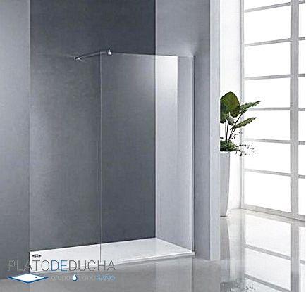 Mampara con panel lateral fijo con cristal transparente y - Cristal fijo para ducha ...