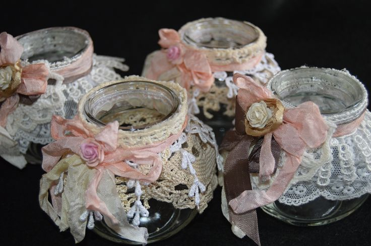 Shabby chic jars, decorated with beautiful lace from Suhafuha etsy store. Perfect as home décor & weddings.