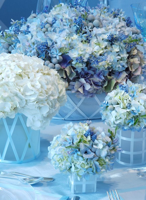 what if we did small vases (dollar store) with little random bouquets of blue and white all over the reception tables?