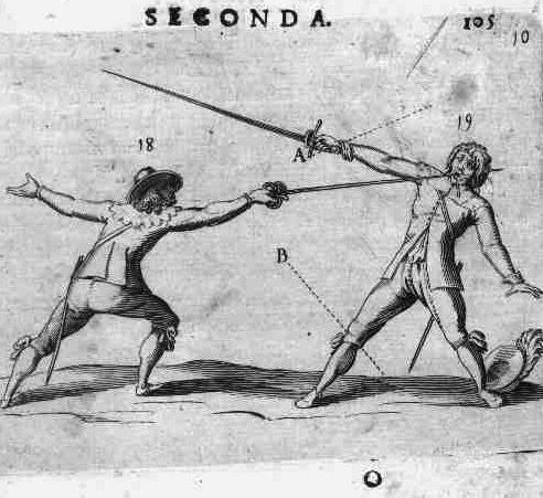 The lunge according to Francesco Alfieri in La Scherma published in Padua in 1640. The rapier hold is clearly shown by the artist. Note the target of the lunge is the face